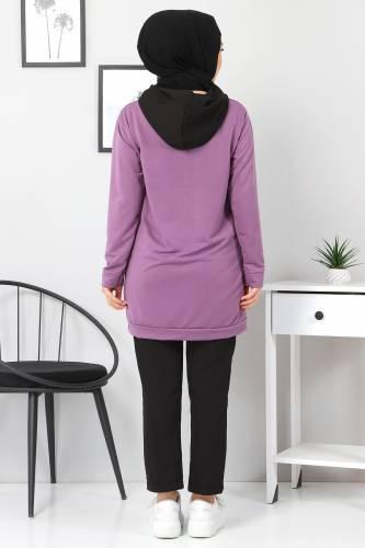Kanguru Cepli Sweatshirt TSD3320 Lila - Thumbnail