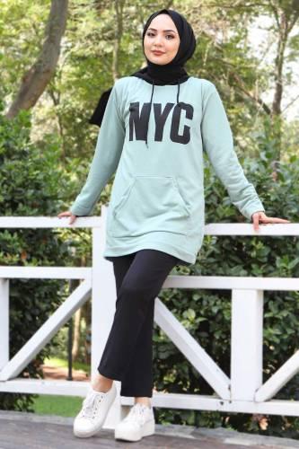 Kanguru Cepli Sweatshirt TSD3320 Mint Yeşili - Thumbnail