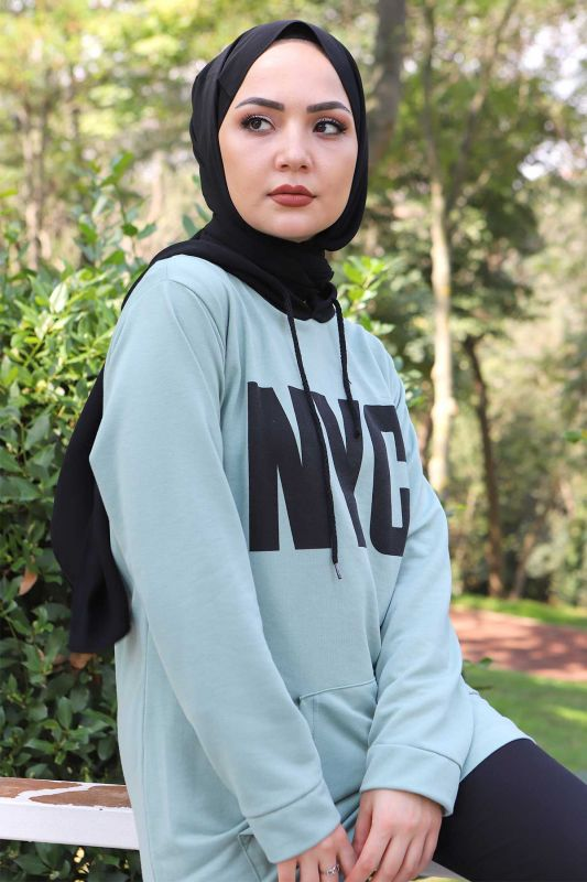 Kanguru Cepli Sweatshirt TSD3320 Mint Yeşili