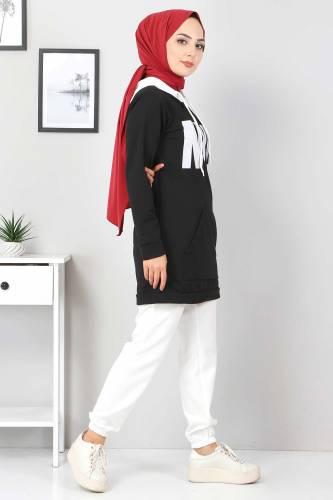 Kanguru Cepli Sweatshirt TSD3320 Siyah - Thumbnail
