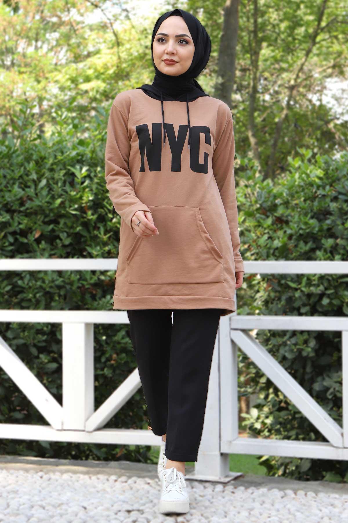 Kanguru Cepli Sweatshirt TSD3320 Vizon