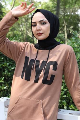 Kanguru Cepli Sweatshirt TSD3320 Vizon - Thumbnail