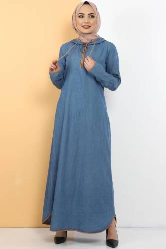 Tesettür Dünyası - Kapşon Detaylı Kot Elbise TSD10528 Açık Mavi