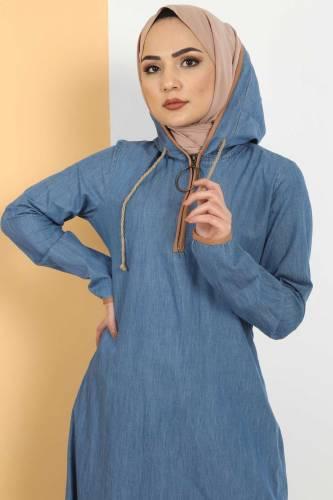 Tesettür Dünyası - Kapşon Detaylı Kot Elbise TSD10528 Açık Mavi (1)