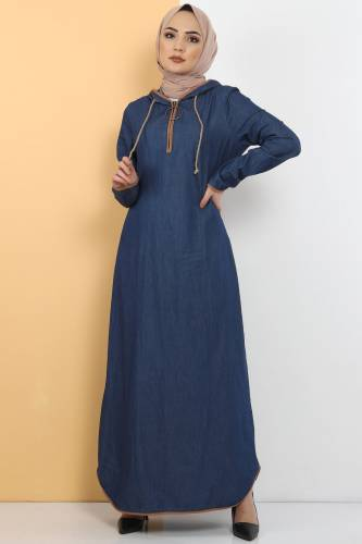 Tesettür Dünyası - Kapşon Detaylı Kot Elbise TSD10528 Koyu Mavi