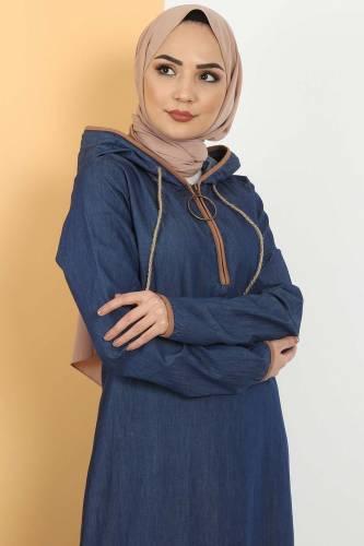 Tesettür Dünyası - Kapşon Detaylı Kot Elbise TSD10528 Koyu Mavi (1)
