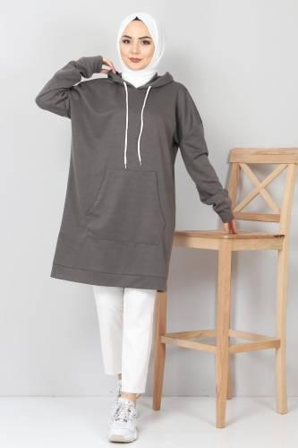 Tesettür Dünyası - Kapşonlu Kanguru Cep Sweatshirt TSD10590 Füme