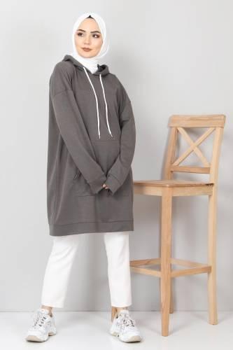 Tesettür Dünyası - Kapşonlu Kanguru Cep Sweatshirt TSD10590 Füme (1)