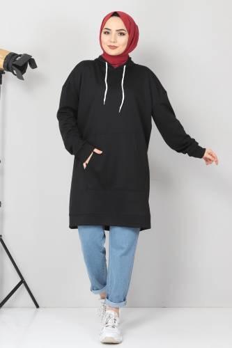 Tesettür Dünyası - Kapşonlu Kanguru Cep Sweatshirt TSD10590 Siyah