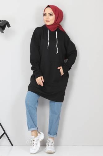 Tesettür Dünyası - Kapşonlu Kanguru Cep Sweatshirt TSD10590 Siyah (1)