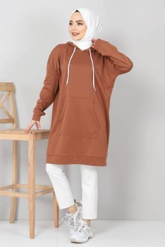 Tesettür Dünyası - Kapşonlu Kanguru Cep Sweatshirt TSD10590 Taba (1)