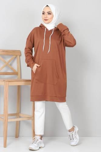 Tesettür Dünyası - Kapşonlu Kanguru Cep Sweatshirt TSD10590 Taba