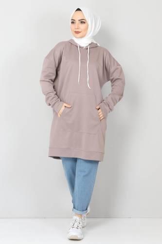 Tesettür Dünyası - Kapşonlu Kanguru Cep Sweatshirt TSD10590 Vizon