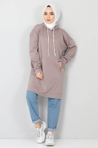 Tesettür Dünyası - Kapşonlu Kanguru Cep Sweatshirt TSD10590 Vizon (1)