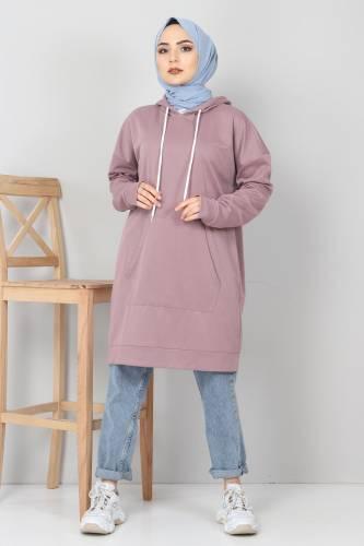 Tesettür Dünyası - Kapşonlu Kanguru Cep Sweatshirt TSD10590 Gül Kurusu