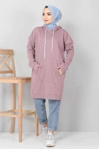 Tesettür Dünyası - Kapşonlu Kanguru Cep Sweatshirt TSD10590 Gül Kurusu (1)
