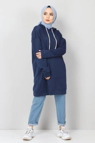 Tesettür Dünyası - Kapşonlu Kanguru Cep Sweatshirt TSD10590 Lacivert