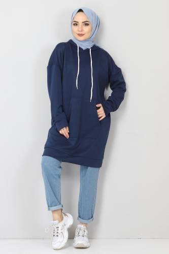 Tesettür Dünyası - Kapşonlu Kanguru Cep Sweatshirt TSD10590 Lacivert (1)