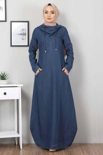 Kapşonlu Kot Elbise TSD4032 Koyu Mavi - Thumbnail