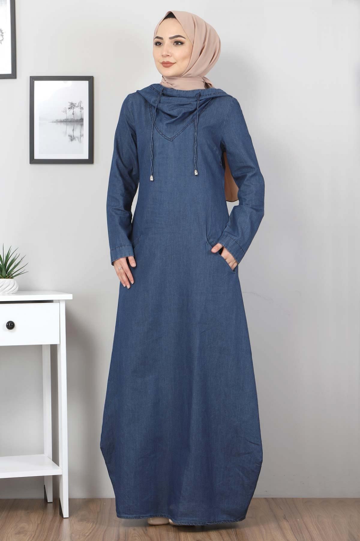 Kapşonlu Kot Elbise TSD4032 Koyu Mavi