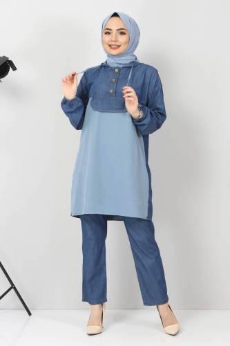 Tesettür Dünyası - Kapşonlu Kot İkili Takım TSD00233 Kot Mavisi