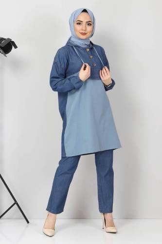 Tesettür Dünyası - Kapşonlu Kot İkili Takım TSD00233 Kot Mavisi (1)