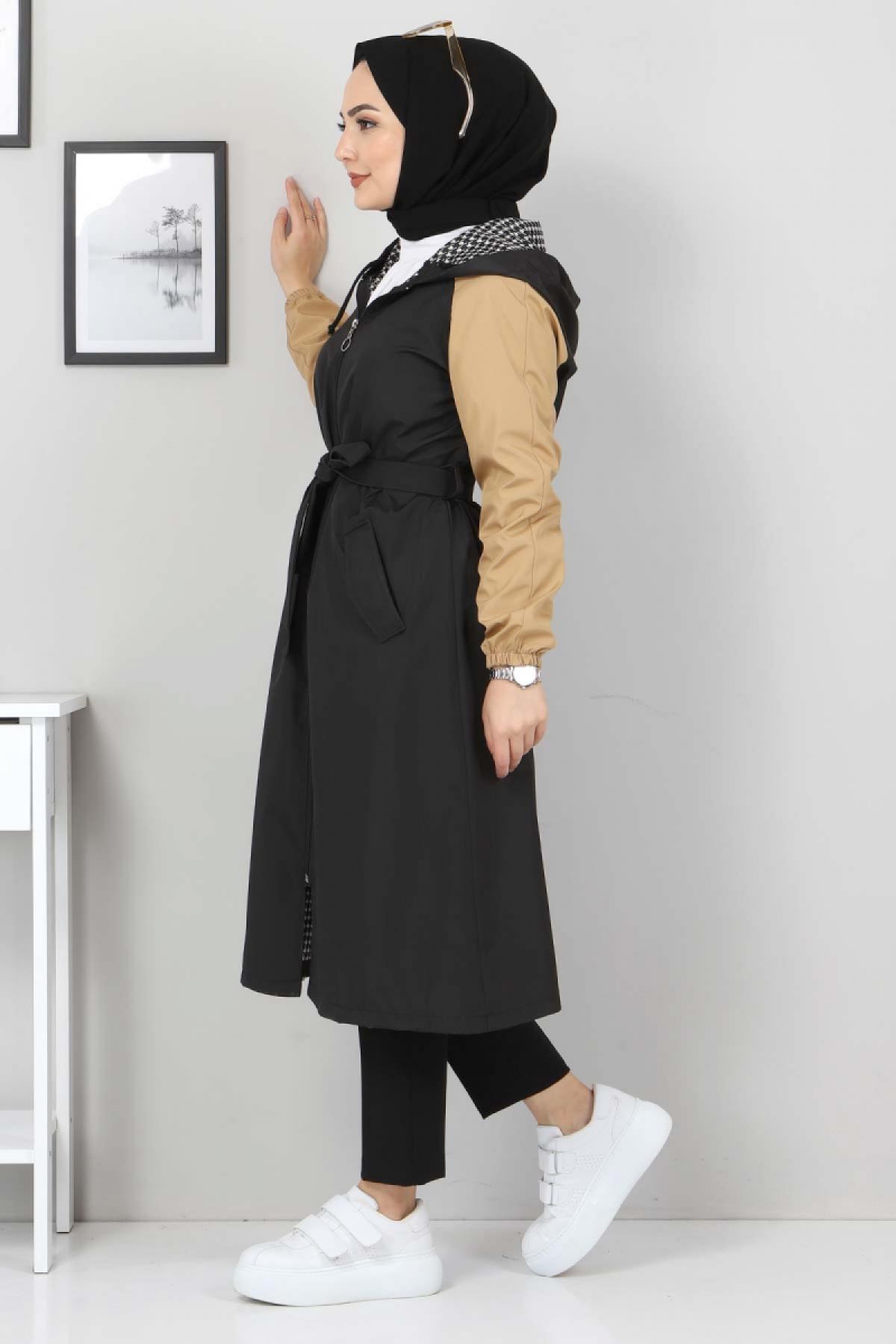 Kapşonlu Renkli Trençkot TSD11926 Siyah