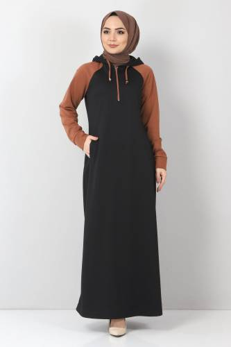Tesettür Dünyası - Kapşonlu Spor Elbise TSD10589 Siyah