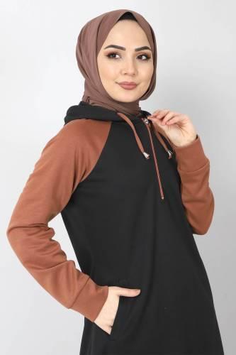 Tesettür Dünyası - Kapşonlu Spor Elbise TSD10589 Siyah (1)