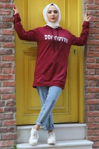 Tesettür Dünyası - Kapşonlu Sweatshirt TSD3318 Bordo