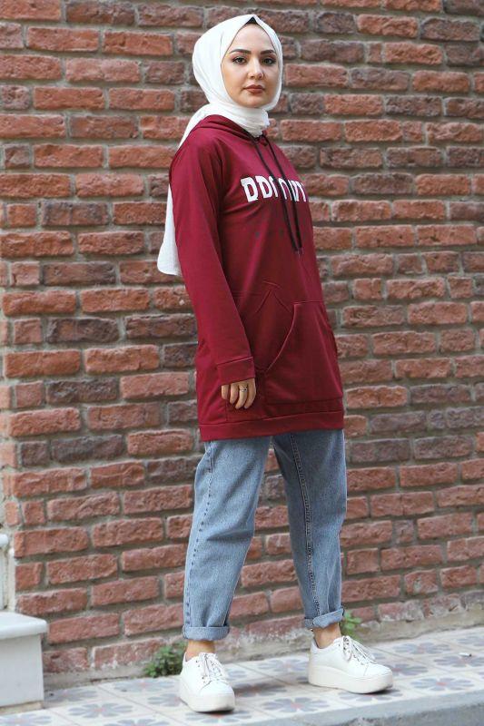 Kapşonlu Sweatshirt TSD3318 Bordo