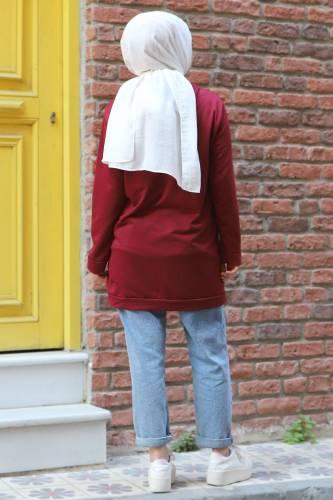 Kapşonlu Sweatshirt TSD3318 Bordo - Thumbnail