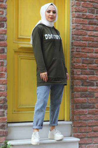 Kapşonlu Sweatshirt TSD3318 Haki - Thumbnail