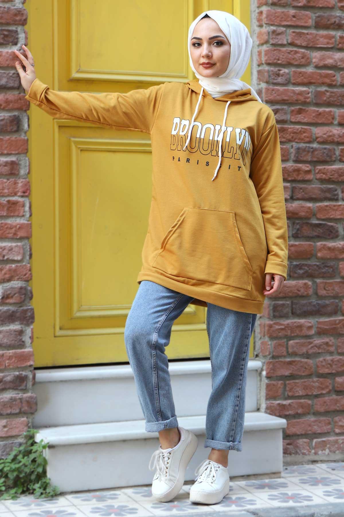 Kapşonlu Sweatshirt TSD3318 Hardal