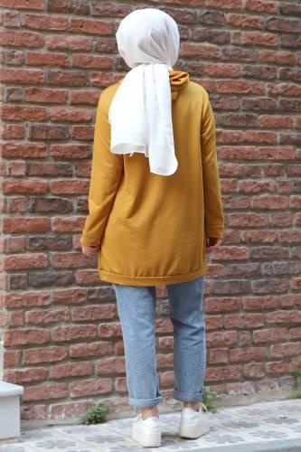 Kapşonlu Sweatshirt TSD3318 Hardal - Thumbnail