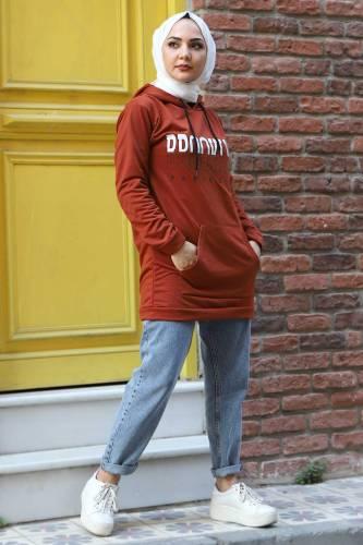 Tesettür Dünyası - Kapşonlu Sweatshirt TSD3318 Kiremit