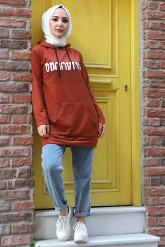 Tesettür Dünyası - Kapşonlu Sweatshirt TSD3318 Kiremit (1)