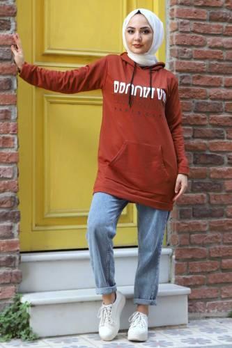Kapşonlu Sweatshirt TSD3318 Kiremit - Thumbnail