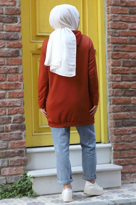 Kapşonlu Sweatshirt TSD3318 Kiremit