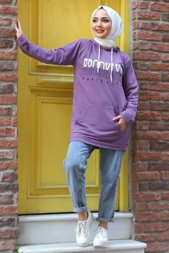 Tesettür Dünyası - Kapşonlu Sweatshirt TSD3318 Lila