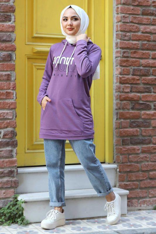 Kapşonlu Sweatshirt TSD3318 Lila