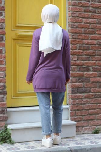 Kapşonlu Sweatshirt TSD3318 Lila - Thumbnail
