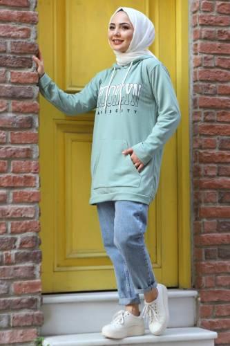 Tesettür Dünyası - Kapşonlu Sweatshirt TSD3318 Mint Yeşili