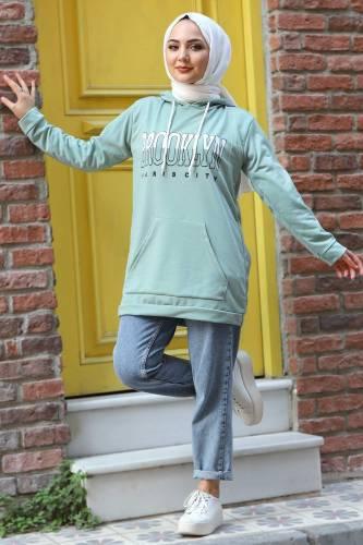 Tesettür Dünyası - Kapşonlu Sweatshirt TSD3318 Mint Yeşili (1)