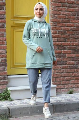 Kapşonlu Sweatshirt TSD3318 Mint Yeşili - Thumbnail