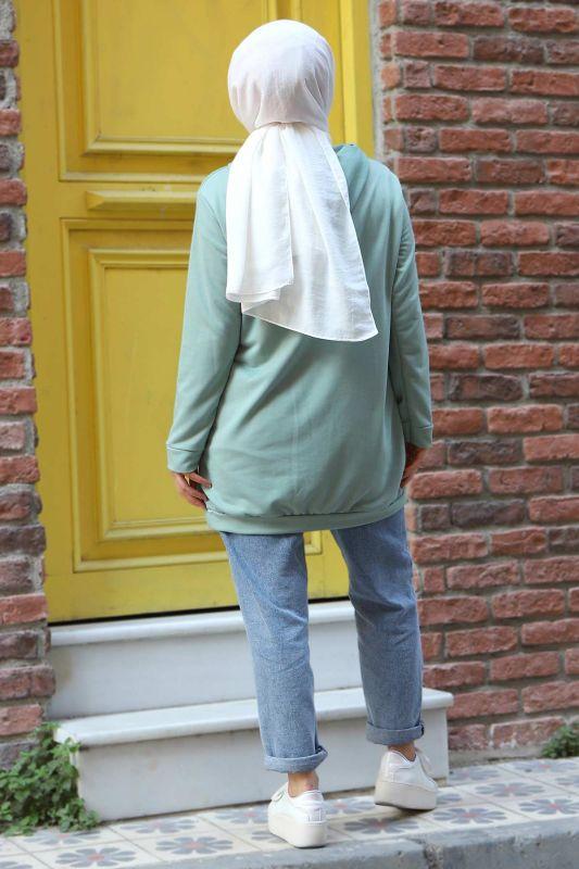 Kapşonlu Sweatshirt TSD3318 Mint Yeşili