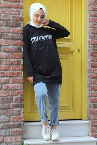 Tesettür Dünyası - Kapşonlu Sweatshirt TSD3318 Siyah