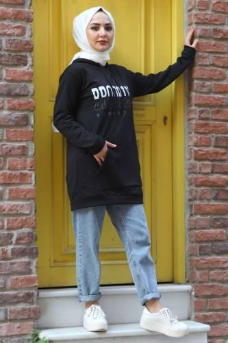 Tesettür Dünyası - Kapşonlu Sweatshirt TSD3318 Siyah (1)