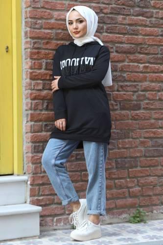 Kapşonlu Sweatshirt TSD3318 Siyah - Thumbnail