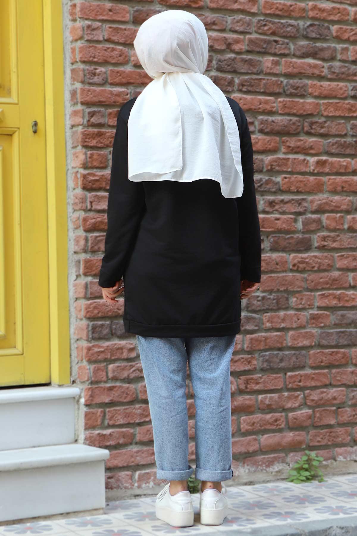 Kapşonlu Sweatshirt TSD3318 Siyah